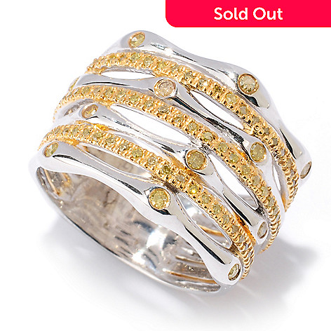 127-477 - Diamond Treasures® Sterling Silver 0.47ctw Yellow Diamond Seven Band Ring