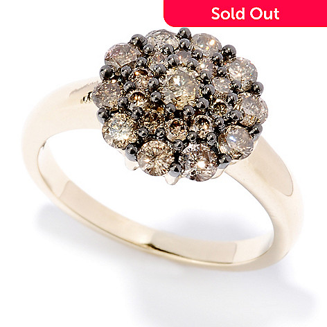 127-478 - Diamond Treasures® 14K Gold 1.00ctw Mocha Diamond Flower Cluster Ring