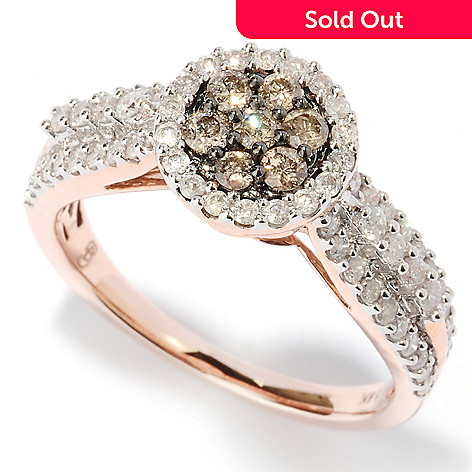 127-479 - Diamond Treasures 14K Rose Gold 0.81ctw White & Champagne Diamond Round Flower Ring