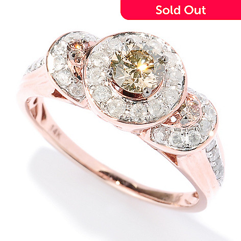 127-480 - Diamond Treasures 14K Rose Gold 0.85ctw White & Champagne Diamond Three Halo Ring