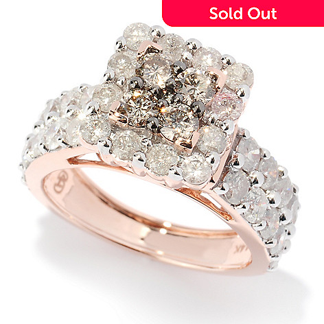 127-481 - Diamond Treasures® 14K Rose Gold 2.77ctw White & Champagne Diamond Square Ring