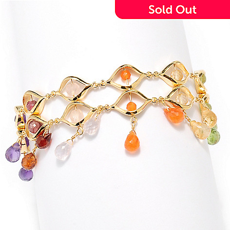 127-486 - Kristen Amato 8'' Multi Gemstone ''The Fiesta'' Triple Toggle Bracelet