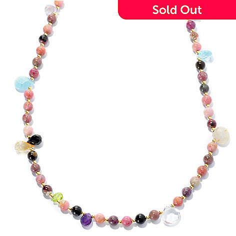 127-490 - Kristen Amato 56'' Multi Color Tourmaline & Gemstone Beaded Station Necklace