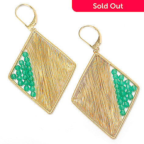127-491 - Kristen Amato Green Onyx Wire Wrapped Rhombus Earrings