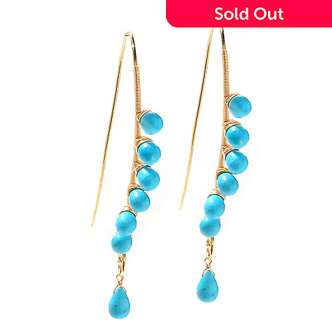 127-493 - Kristen Amato Turquoise Bead ''Sea Breeze'' Elongated Curve Drop Earrings