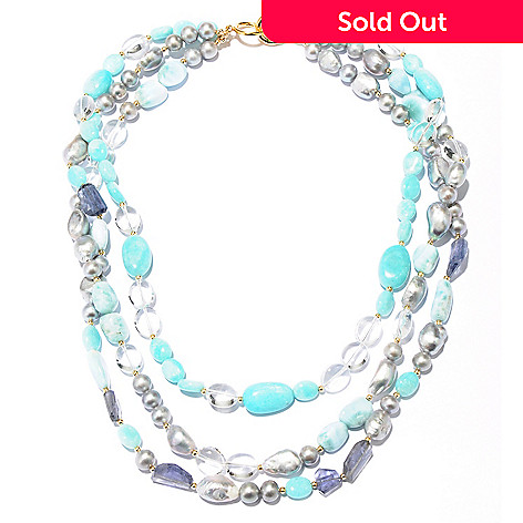 127-496 - Gems of Distinction Amazonite & Multi Gemstone Three-Strand Beaded Necklace