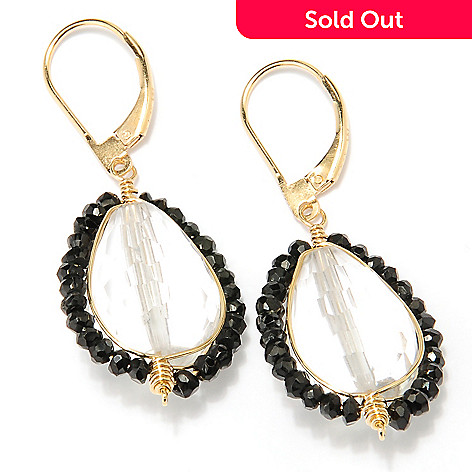 127-498 - Kristen Amato 18 x 12mm Rock Crystal & Black Spinel Drop Earrings