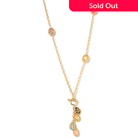 127-499 - Kristen Amato 30'' Chain Wrapped Multi Gemstone ''The Charmer'' Toggle Necklace