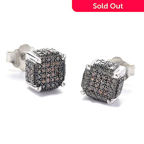 127-502 - Diamond Treasures Sterling Silver 0.19ctw Fancy Color Diamond Square Earrings