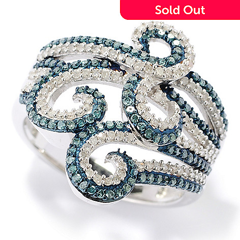 127-504 - Diamond Treasures Sterling Silver 0.73ctw Blue & White Diamond Swirl Design Ring