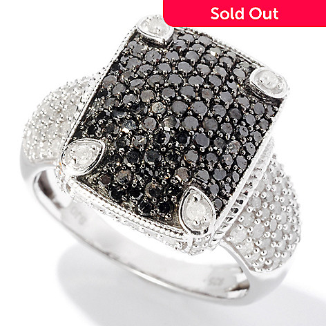 127-510 - Diamond Treasures® Sterling Silver 1.64ctw Black & White Diamond Rectangle Ring