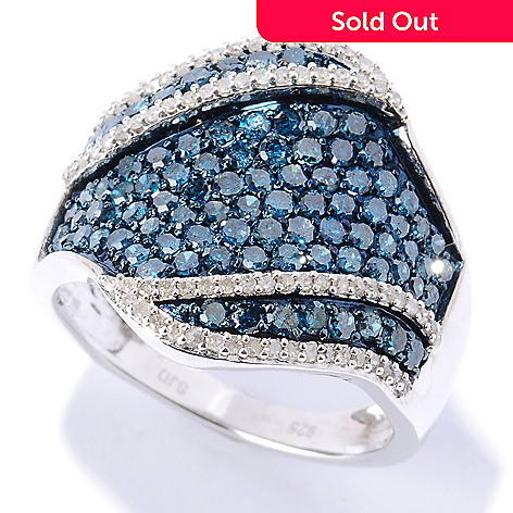 127-511 - Diamond Treasures Sterling Silver 1.62ctw Blue & White Diamond Wide Band Ring