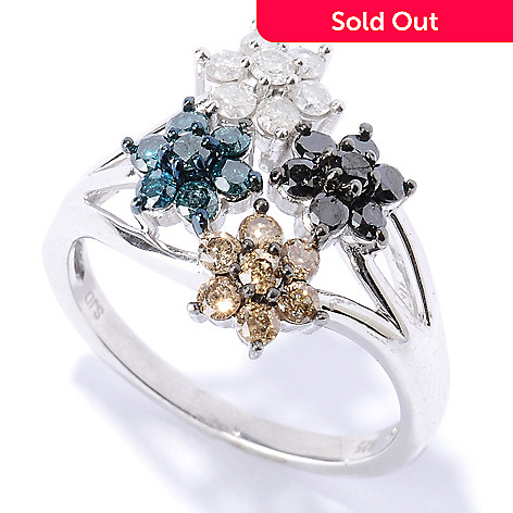 127-514 - Diamond Treasures Sterling Silver 1.00ctw Multi Color Diamond Flower Ring
