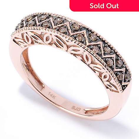 127-517 - Diamond Treasures® 14K Rose Gold 0.20ctw Mocha Diamond Zigzag Band Ring