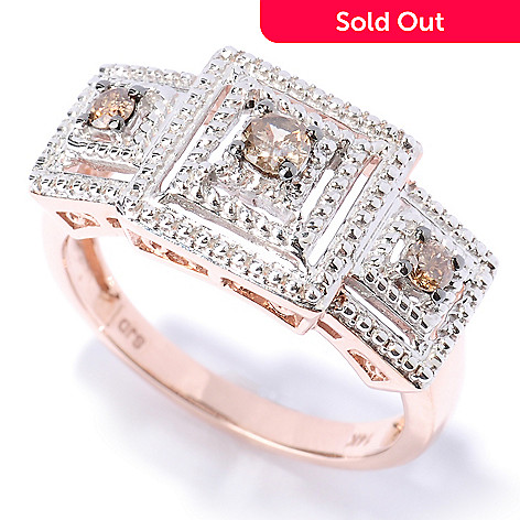 127-518 - Diamond Treasures® 14K Rose Gold 0.25ctw Mocha Diamond Layered Square Ring