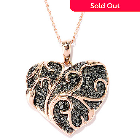 127-522 - Diamond Treasures 14K Rose Gold 0.57ctw Black Diamond Heart Pendant w/ Chain