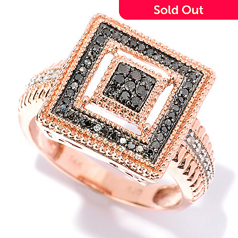 127-524 - Diamond Treasures 14K Rose Gold 0.29ctw Black & White Diamond Square Ring