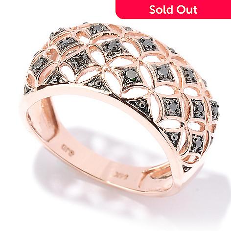 127-526 - Diamond Treasures® 14K Rose Gold 0.17ctw Black Diamond Wide Band Ring