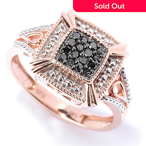 127-527 - Diamond Treasures 14K Rose Gold 0.17ctw Black Diamond Square Ring