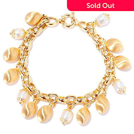 127-529 - Viale18K® 8mm Freshwater Cultured Pearl & Satin Bead Bracelet