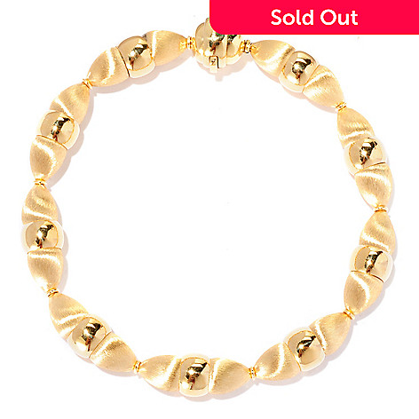 127-530 - Viale18K® Italian Gold Polished & Satin Finished Bead Bracelet