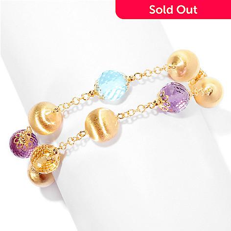 127-531 - Viale18K® Italian Gold Amethyst, Topaz & Citrine Two-Strand Bracelet