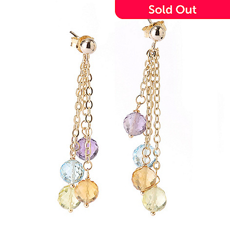 127-534 - Viale18K® Italian Gold 14.56ctw Multi Gemstone Dangle Earrings