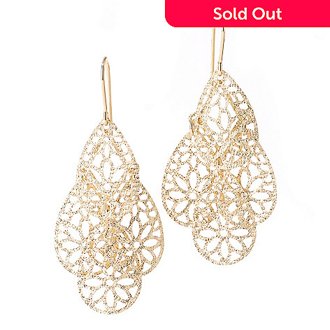 127-535 - Viale18K® Italian Gold Fancy Floral Dangle Earrings