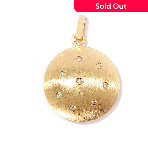 127-539 - Viale18K® Italian Gold 0.11ctw Diamond Accent Round Pendant
