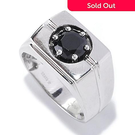 127-540 - Gem Treasures® Men's Sterling Silver 1.35ctw Spinel Rectangle Ring