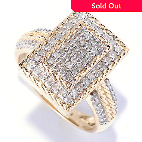 127-542 - Diamond Treasures 14K Gold 0.52ctw Diamond Rectangle Ring