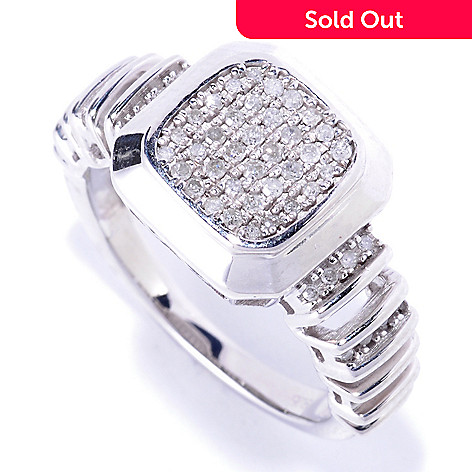 127-543 - Diamond Treasures Sterling Silver 0.20ctw White Diamond Square Ring