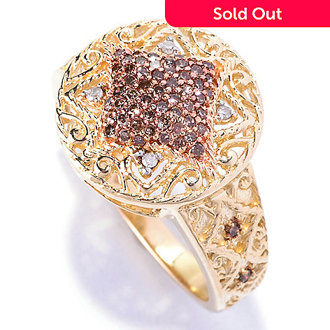 127-544 - Diamond Treasures 14K Gold 0.25ctw Champagne Diamond & White Diamond Round Square Ring