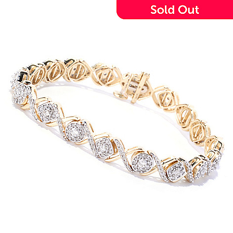 127-545 - Diamond Treasures® 14K Yellow Gold 2.15ctw Square & Round Link Diamond Tennis Bracelet