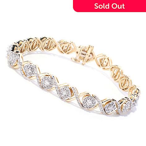 127-545 - Diamond Treasures 14K Yellow Gold 2.15ctw Square & Round Link Diamond Tennis Bracelet