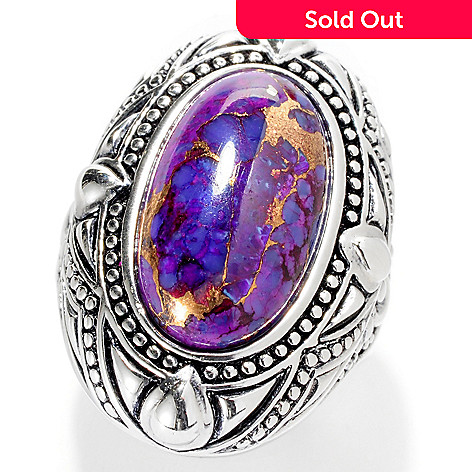 127-548 - Gem Insider™ Sterling Silver 18 x 11mm Oval Purple Kingman Turquoise Ring