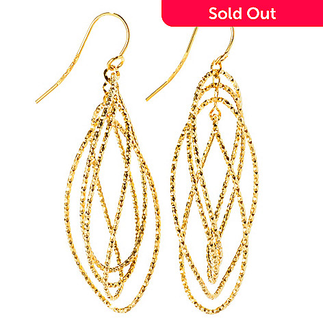 127-564 - Italian Designs with Stefano 14K Gold Marquise Shaped Dangle Earrings