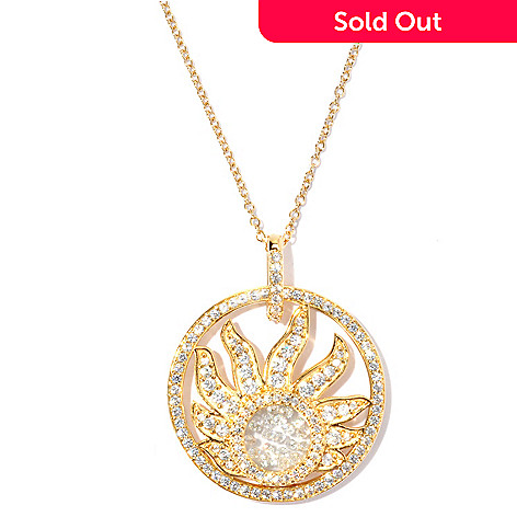 127-566 - Sonia Bitton Gold Embraced™ 2.58 DEW Simulated Diamond Floating Stone Sun Pendant