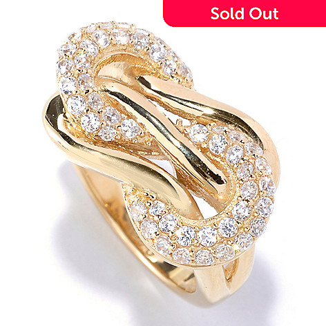 127-570 - Sonia Bitton Pave Round Cut Simulated Diamond Polished Knot Ring