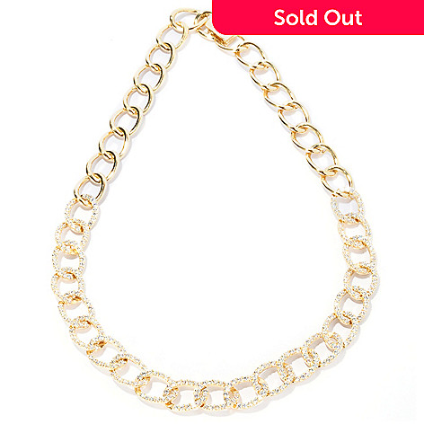 127-573 - Sonia Bitton 6.72 DEW Round Cut Pave Set Simulated Diamond Link Necklace