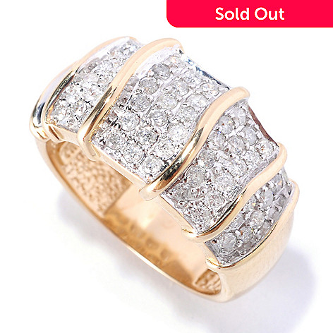 127-583 - Beverly Hills Elegance 14K Gold 0.75ctw Diamond Gold Bar Station Ring