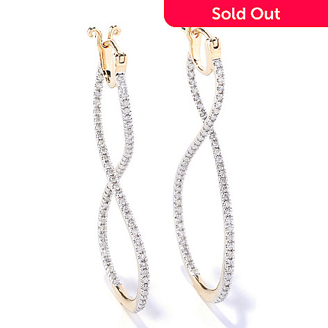 127-595 - Beverly Hills Elegance 14K Gold 2'' 0.80ctw Twisted Inside-Out Diamond Earrings