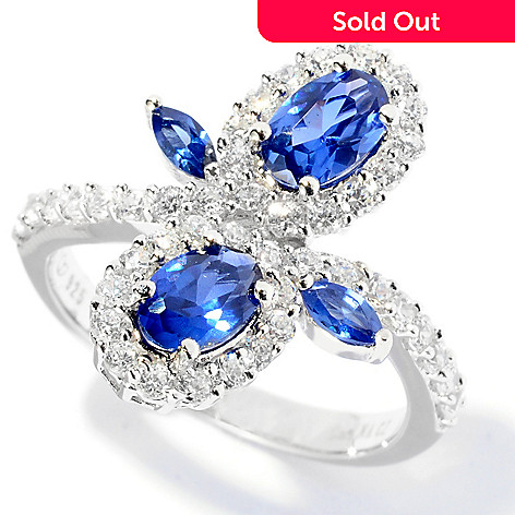 127-598 - Brilliante® Platinum Embraced™ 1.68 DEW Blue & White Flower Ring
