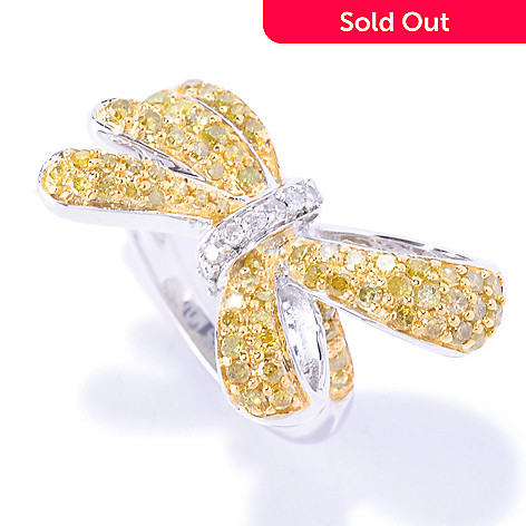 127-606 - Diamond Treasures Sterling Silver 0.75ctw White & Colored Diamond Bow Ring