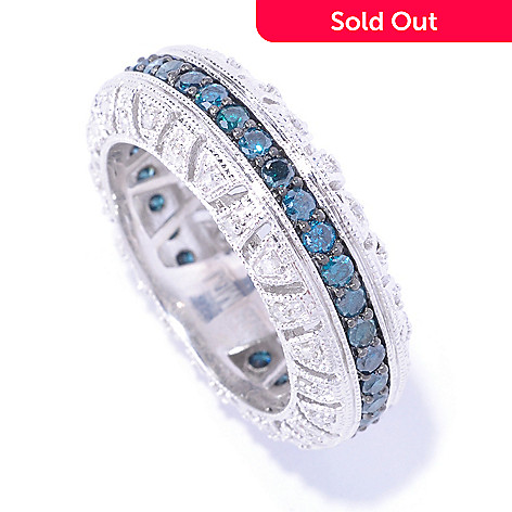 127-611 - Diamond Treasures Sterling Silver 1.25ctw White & Colored Diamond Eternity Band Ring