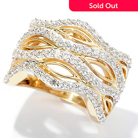 127-613 - Sonia Bitton Gold Embraced™ 1.39 DEW Round Cut Simulated Diamond Open Work Ring