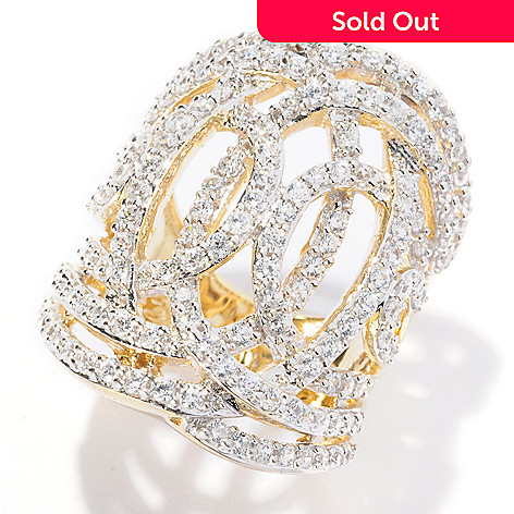 127-616 - Sonia Bitton 2.22 DEW Open Work Simulated Diamond Elongated Weave Ring