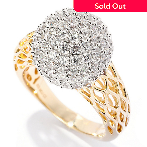 127-617 - Sonia Bitton Two-tone 2.14 DEW Round Cut Pave Simualted Diamond Ball Ring