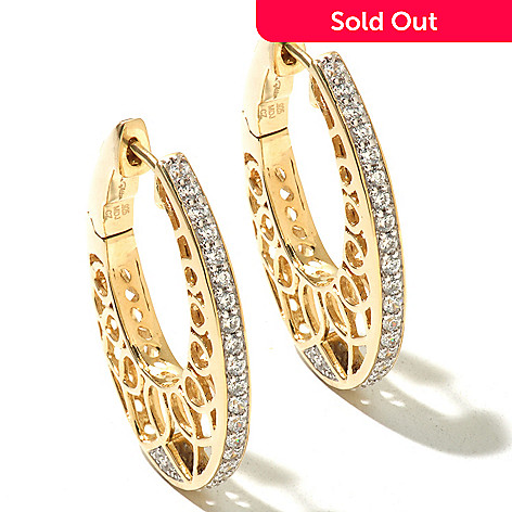 127-619 - Sonia Bitton for Brilliante® 1.24 DEW Polished Round Cut-out Hoop Earrings