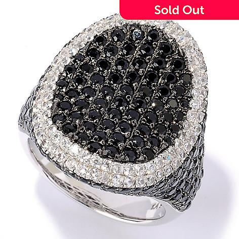 127-630 - Gem Treasures® Sterling Silver 4.89ctw Black Spinel & Zircon Oval Frame Ring